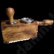Tamper állvány égetett, antikolt tölgyfából 58 mm-es portafilterhez- tamper station